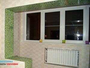 Совмещение лоджии с кухней (демонтаж окна и алмазная резка стены), замена окна, утепление стен/пола/потолка, перенос батареи. Отделка стен - обои, пол керамогранит с подогревом, натяжной потолок, облицовка проема мозаичной плиткой