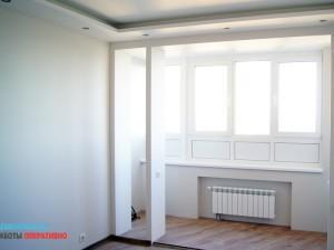 Комплексное утепление балкона. Замена и перенос батареи. Монтаж декоративной конструкции (гкл) для потолок