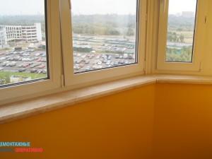 становка подоконника и покраска стен на балконе